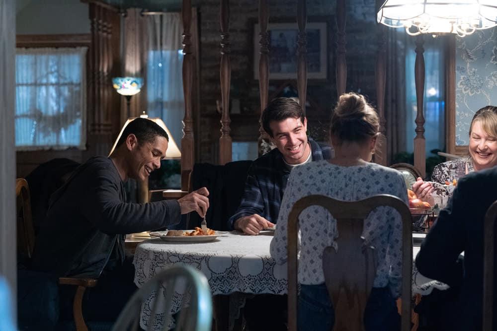 "ORDINARY JOE Season 1 Episode 1 -- ""Pilot"" -- Pictured: (l-r) Charlie Barnett as Eric Payne, James Wolk as Joe Kimbreau, Sarah Charipar as Aunt Meg -- (Photo by: Sandy Morris/NBC)"