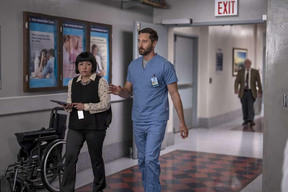 "NEW AMSTERDAM Season 4 Episode 1 -- ""More Joy"" Episode 401 -- Pictured: (l-r) Anna Suzuki as Sandra Fall, Ryan Eggold as Dr. Max Goodwin -- (Photo by: Zach Dilgard/NBC)"