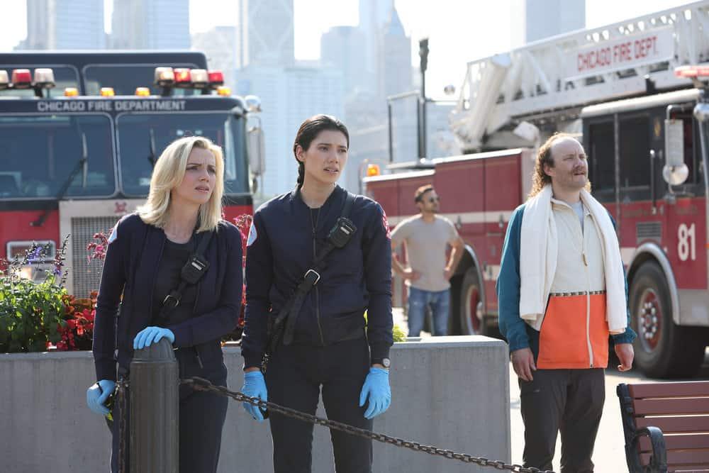 "CHICAGO FIRE Season 10 Episode 1 -- ""Mayday"" Episode 1001 -- Pictured: (l-r) Kara Killmer as Sylvie Brett, Hanako Greensmith as Violet -- (Photo by: Adrian S. Burrows Sr./NBC)"