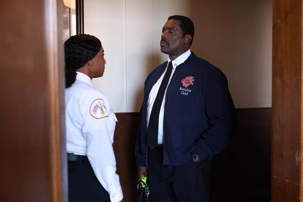 """CHICAGO FIRE Season 10 Episode 1 -- """"Mayday"""" Episode 1001 -- Pictured: (l-r) J. Nicole Brooks as Gloria Hill, Eamonn Walker as Wallace Boden -- (Photo by: Adrian S. Burrows Sr./NBC)"""