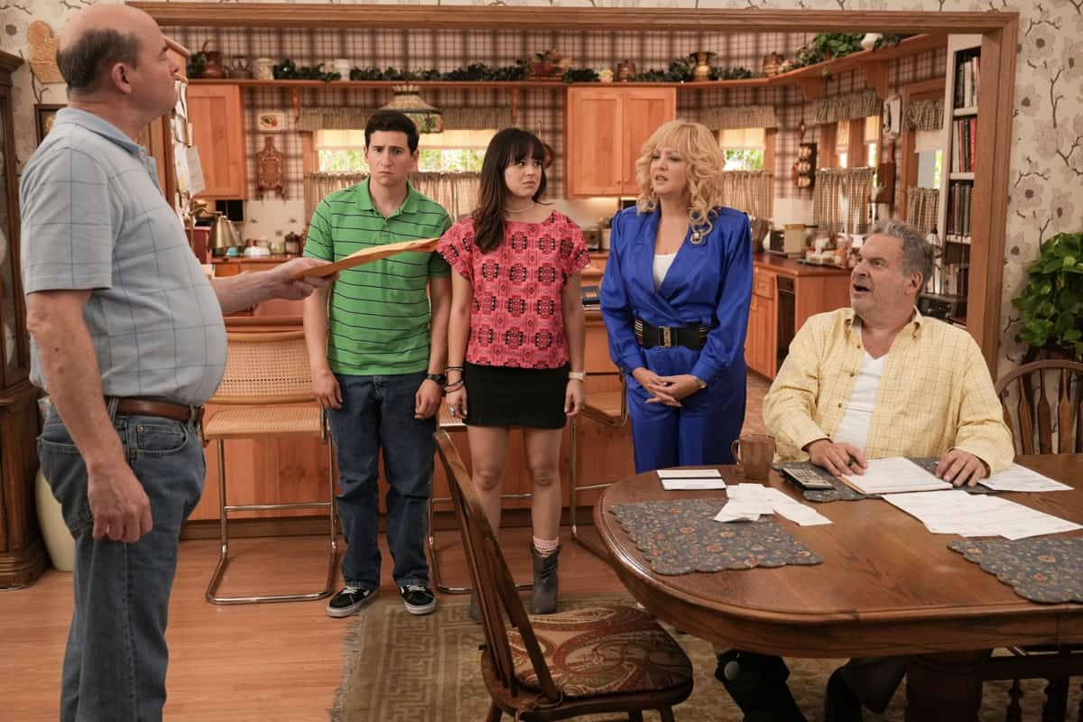 """THE GOLDBERGS Season 9 Episode 1 - """"The Goldbergs' Excellent Adventure"""" – The season nine premiere revolves around the iconic '80s family paying tribute to Pops. Together they venture down memory lane by visiting Pops' favorite stomping grounds. Adam Goldberg, forever with camera in hand, captures the outing – theming it to """"Bill and Ted's Excellent Adventure."""" Hijinks and hilarity ensue, and we are reminded that there is no bond greater than family on """"The Goldbergs"""" airing SEPT. 22 (8:00-8:30 p.m. EDT), on ABC. (ABC/Scott Everett White) DAVID KOECHNER, SAM LERNER, HAYLEY ORRANTIA, WENDI MCLENDON-COVEY, JEFF GARLIN"""