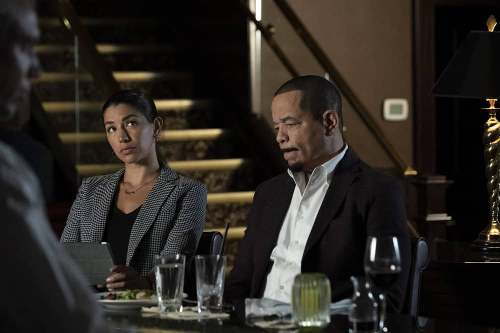 """LAW AND ORDER SVU Season 23 Episode 1 -- """"And the Empire Strikes Back"""" Episode 23001 -- Pictured: (l-r) Jamie Gray Hyder as Officer Katriona """"Kat"""" Azar Tamin, Ice T as Sergeant Odafin """"Fin"""" Tutuola -- (Photo by: Heidi Gutman/NBC)"""