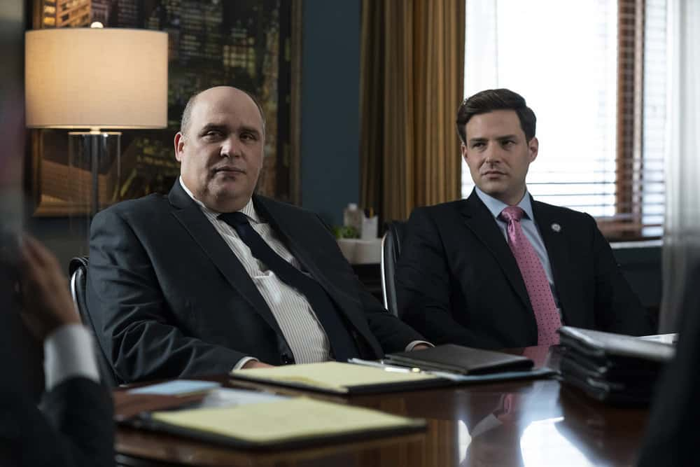 """LAW AND ORDER SVU Season 23 Episode 1 -- """"And the Empire Strikes Back"""" Episode 23001 -- Pictured: (l-r) Glenn Fleshler as Myron Gold, Ben Rappaport as Congressman Howard -- (Photo by: Heidi Gutman/NBC)"""