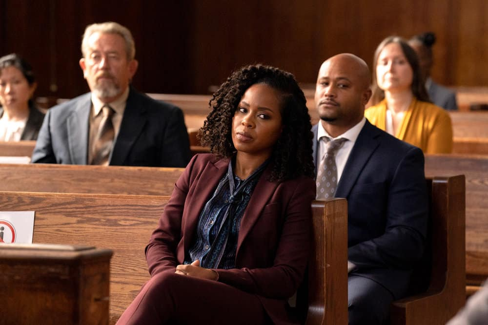 """LAW AND ORDER ORGANIZED CRIME Season 2 Episode 1 -- """"The Man With No Identity"""" Episode 201 -- Pictured: Danielle Moné Truitt as Sergeant Ayanna Bell -- (Photo by: Virginia Sherwood/NBC)"""