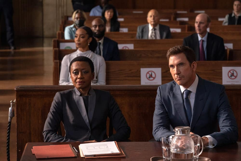 """LAW AND ORDER ORGANIZED CRIME Season 2 Episode 1 -- """"The Man With No Identity"""" Episode 201 -- Pictured: (l-r) Barbara Eve Harris as Athena Davis, Dylan McDermott as Richard Wheatley -- (Photo by: Virginia Sherwood/NBC)"""