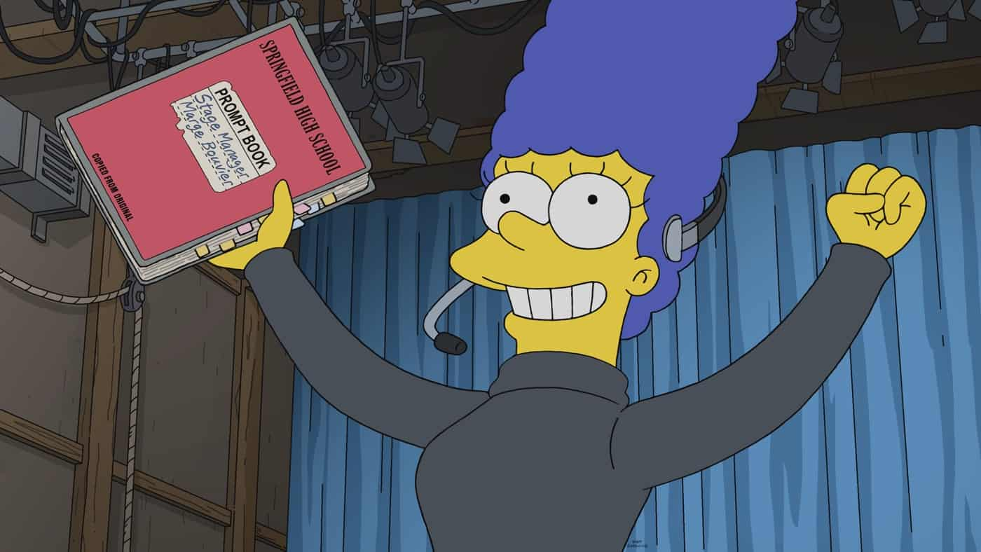 THE SIMPSONS Season 33 Episode 1: A musical comes to life in Springfield as Marge stages a revival of her beloved high school show ñ but her wonderful memories are threatened by the return of a rival from the past in the ìThe Star of the Backstageî season premiere episode of THE SIMPSONS airing Sunday, Sept. 26 (8:00-8:30 PM ET/PT) on FOX. THE SIMPSONS © 2021 by 20th Television.