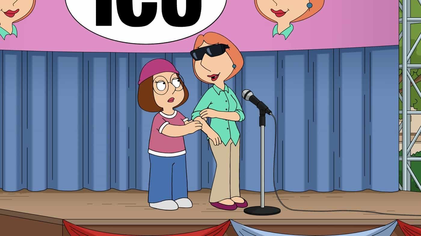 """FAMILY GUY Season 20 Episode 1 With her vision waning, Lois elects to get LASIK surgery, but exploits her new disability for monetary gain. Meanwhile, Peter, Chris and Stewie must partake in all the activities with Doug that his father neglects in the """"LASIK Instinct"""" season premiere episode of FAMILY GUY airing Sunday, Sept. 26 (9:30-10:00 PM ET/PT) on FOX. FAMILY GUY © 2021 by 20th Television."""