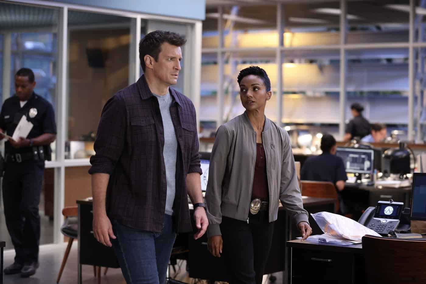 """THE ROOKIE Season 4 Episode 1E - """"Life and Death"""" – Officer Nolan and the entire team race against the clock to locate Lopez after she is kidnapped on her wedding day, not only to save her life but her unborn child's, on the season four premiere of """"The Rookie,"""" SUNDAY, SEPT. 26  (10:00-11:00 p.m. EDT), on ABC. (ABC/Raymond Liu) NATHAN FILLION, MEKIA COX"""