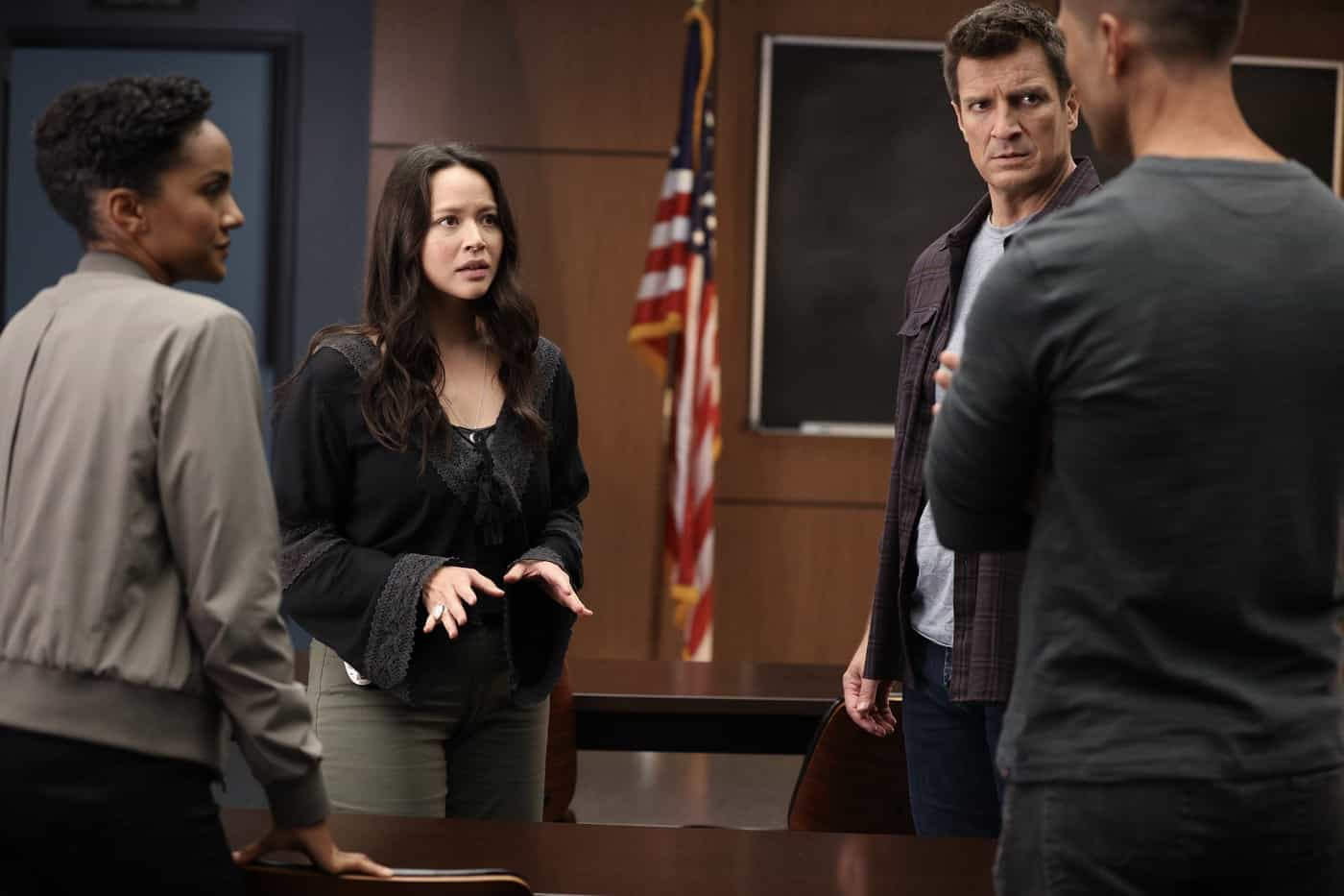 """THE ROOKIE Season 4 Episode 1 - """"Life and Death"""" – Officer Nolan and the entire team race against the clock to locate Lopez after she is kidnapped on her wedding day, not only to save her life but her unborn child's, on the season four premiere of """"The Rookie,"""" SUNDAY, SEPT. 26  (10:00-11:00 p.m. EDT), on ABC. (ABC/Raymond Liu) MELISSA O'NEIL, NATHAN FILLION"""