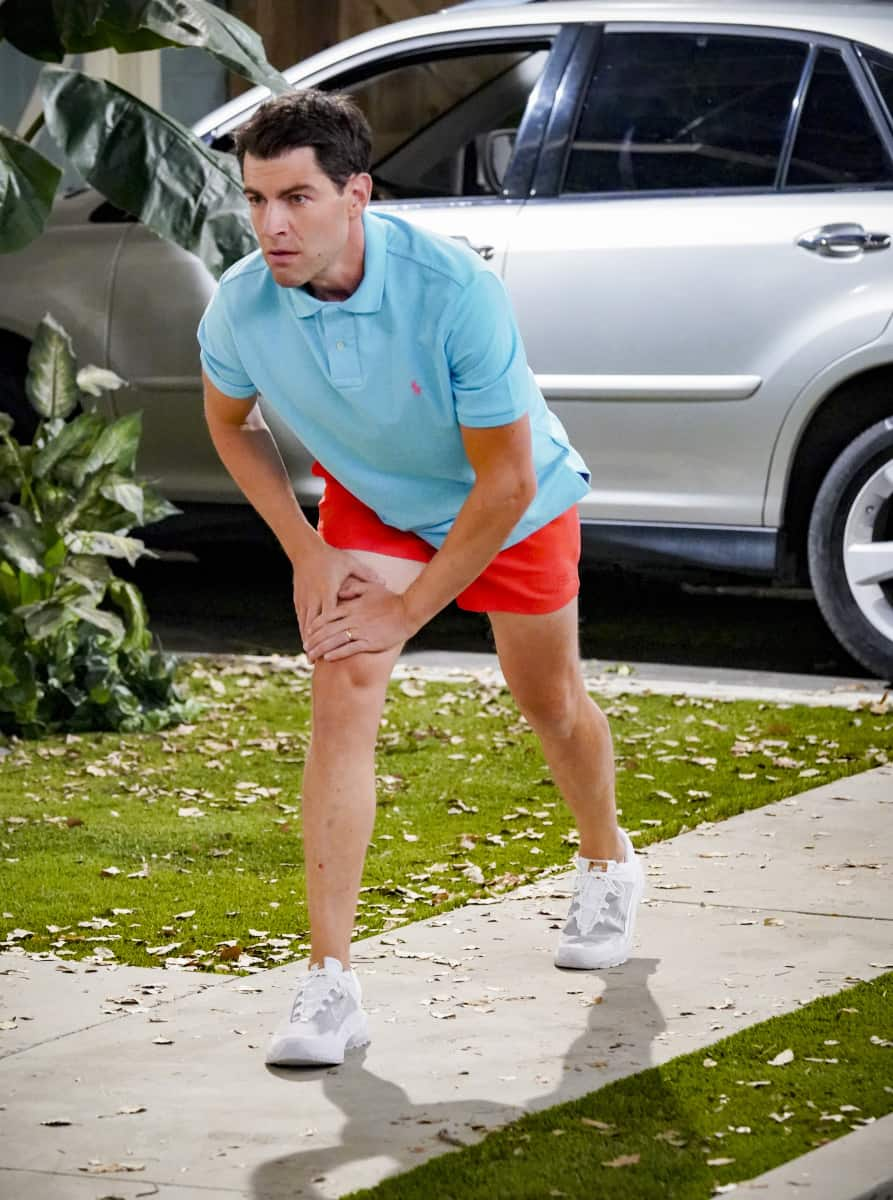 """THE NEIGHBORHOOD Season 4 Episode 2 """"Welcome to the Intervention"""" - Pictured: Max Greenfield (Dave Johnson). When a member of the community's behavior becomes increasingly erratic, Calvin and Dave step up to help. Also, Marty undergoes a dramatic makeover to impress a longtime crush, on THE NEIGHBORHOOD, Monday, Sept. 27 (8:00-8:30 PM, ET/PT) on the CBS Television Network and available to stream live and on demand on Paramount+. Photo: Monty Brinton/CBS ©2021 CBS Broadcasting, Inc. All Rights Reserved."""