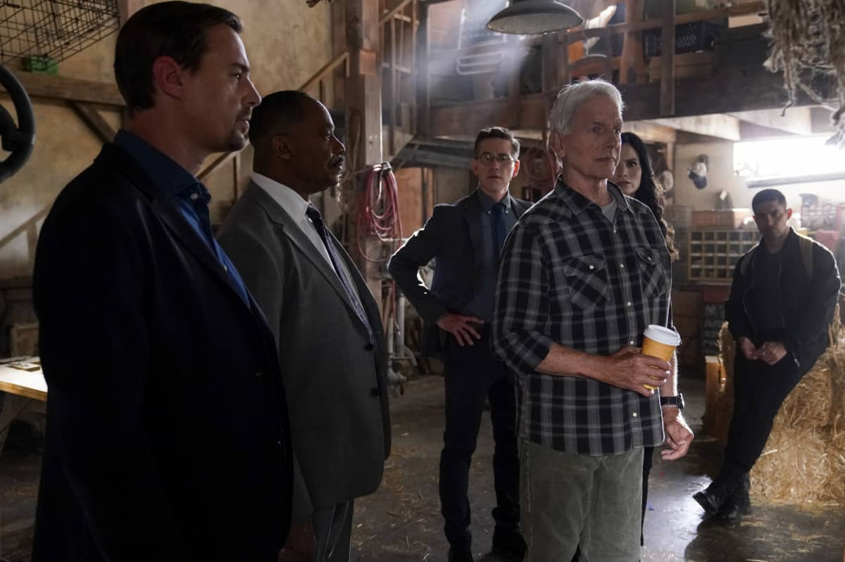"""NCIS Season 19 Episode 2 """"Nearly Departed"""" – While trying to find the serial killer Gibbs had been after, the NCIS team discover another person has been tracking the case as well, on NCIS, Monday, Sept. 27 (9:00-10:00 PM, ET/PT) on the CBS Television Network. Gary Cole joins the cast as FBI Special Agent Alden Parker. Pictured:   Sean Murray as NCIS Special Agent Timothy McGee, Rocky Carroll as NCIS Director Leon Vance, Brian Dietzen as Medical Examiner Jimmy Palmer, Mark Harmon as NCIS Special Agent Leroy Jethro Gibbs, Katrina Law as NCIS Special Agent Jessica Knight , Wilmer Valderrama as NCIS Special Agent Nicholas """"Nick"""" Torres. Photo: Cliff Lipson/CBS ©2021 CBS Broadcasting, Inc. All Rights Reserved."""