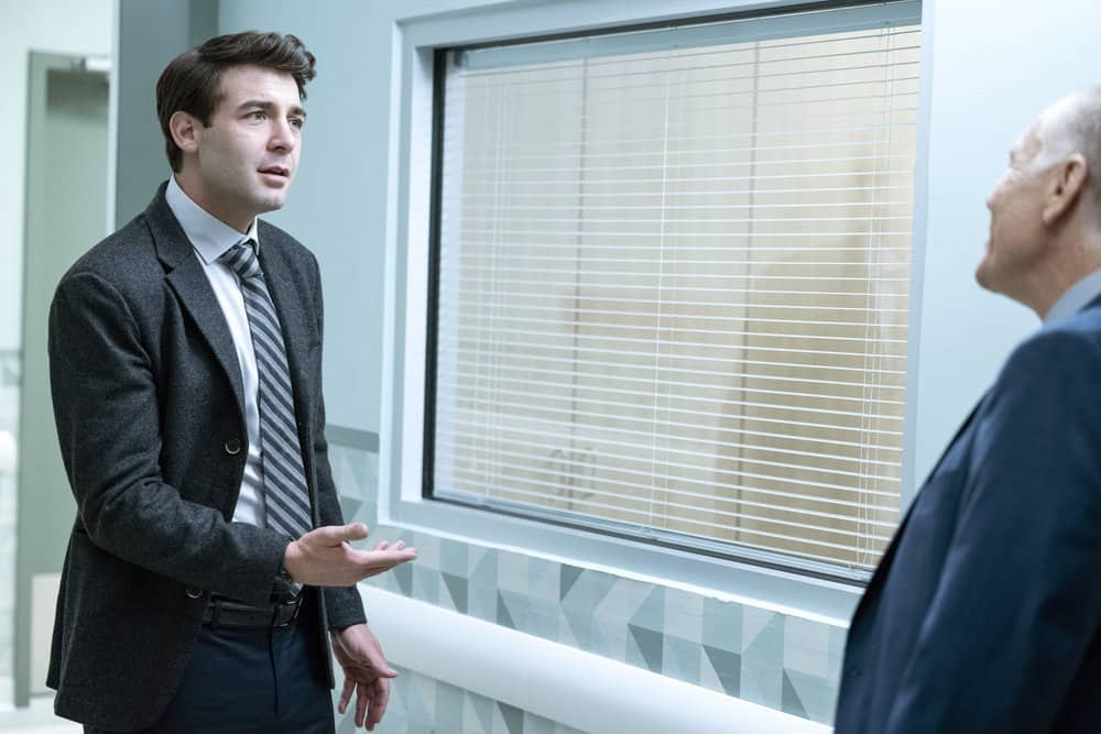"ORDINARY JOE Season 1 Episode 2 -- Episode 102 ""Requiem"" -- Pictured: (l-r) James Wolk as Joe Kimbreau, David Warshofsky as Uncle Frank -- (Photo by: Fernando Decillis/NBC)"