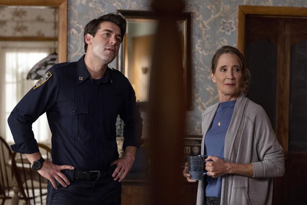 "ORDINARY JOE Season 1 Episode 2 -- Episode 102 ""Requiem"" -- Pictured: (l-r) James Wolk as Joe Kimbreau, Anne Ramsay as Gwen -- (Photo by: Fernando Decillis/NBC)"