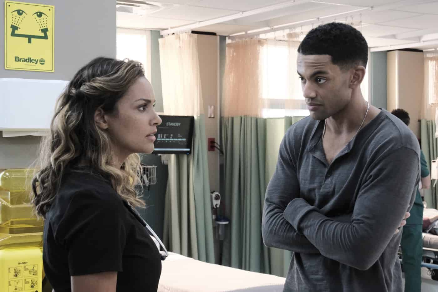 """THE RESIDENT Season 5 Episode 2: L-R:  Jessica Lucas and Miles Fowler in the """"No Good Deed"""" season premiere episode of THE RESIDENT airing Tuesday, Sept. 28 (8:00-9:00 PM ET/PT) on FOX. ©2021 Fox Media LLC Cr: Guy D'Alema/FOX"""