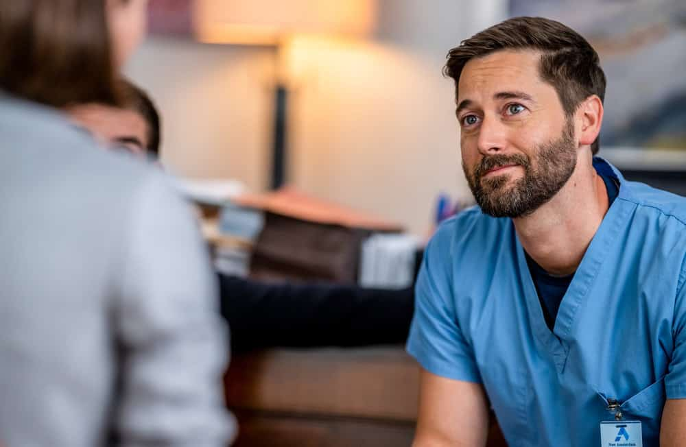 """NEW AMSTERDAM Season 4 Episode 2 -- """"We're In This Together"""" Episode 402 -- Pictured: Ryan Eggold as Dr. Max Goodwin -- (Photo by: Zach Dilgard/NBC)"""