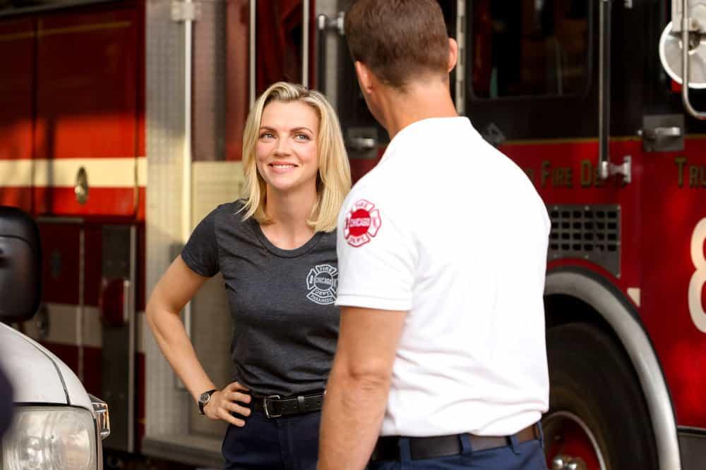 "CHICAGO FIRE Season 10 Episode 2 -- ""Headcount"" Episode 1002 -- Pictured: (l-r) Kara Killmer as Sylvie Brett, Jesse Spencer as Matthew Casey -- (Photo by: Adrian S. Burrows Sr./NBC)"