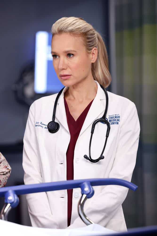 """CHICAGO MED Season 7 Episode 2 -- """"To Lean In Or To Let Go"""" Episode 702 -- Pictured: Kristin Hager as Dr. Stevie Hammer -- (Photo by: George Burns Jr/NBC)"""