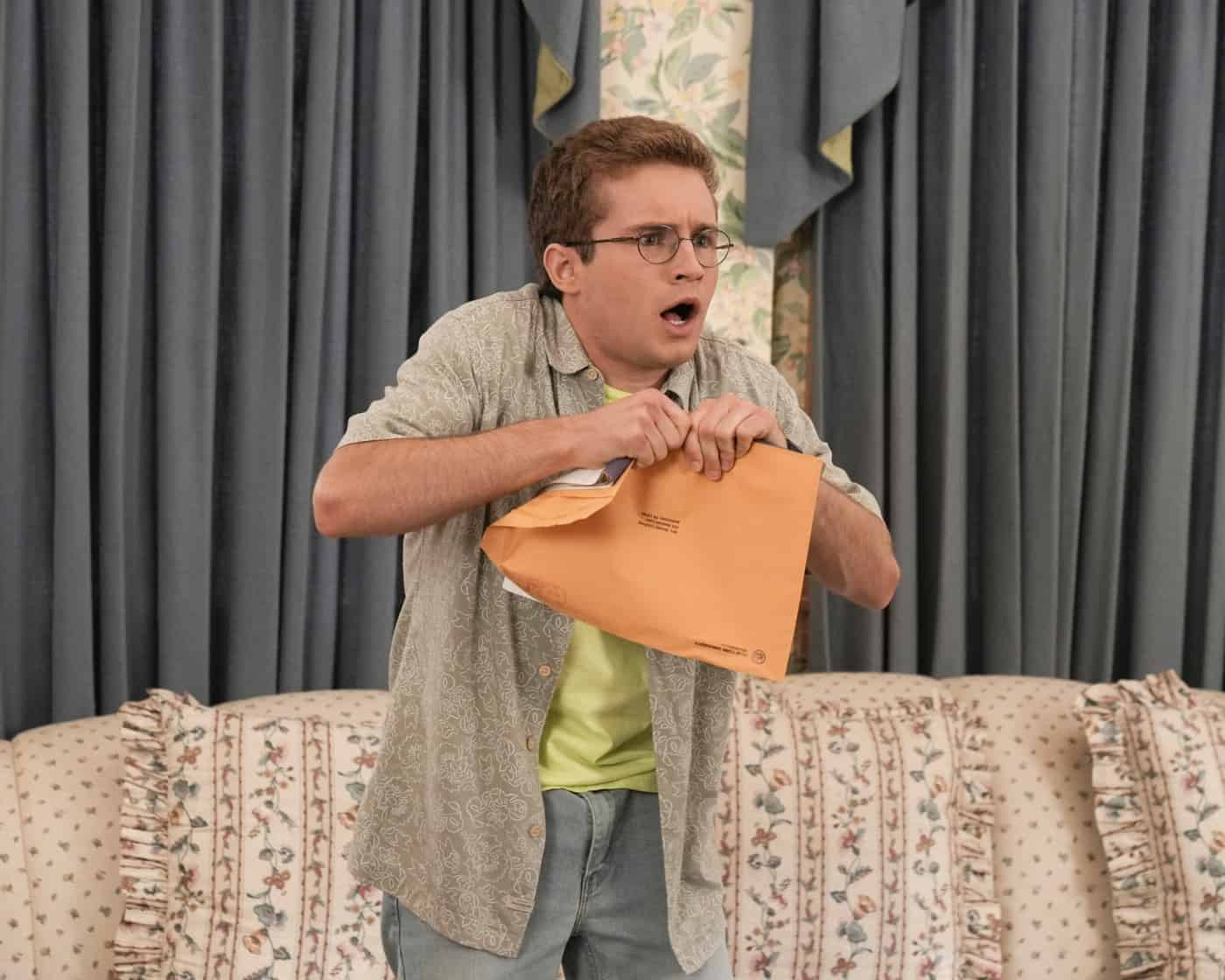 """THE GOLDBERGS Season 9 Episode 2 - """"Horse Play"""" – Adam is ready to leave the struggles of his high school years behind him but is distraught to discover he's been waitlisted at NYU while his girlfriend Brea has been accepted, along with his mom Beverly – who surprises everyone by admitting she applied to the same school. Adam courts the NYU dean of admissions, hoping she will change her mind on his deferral. Meanwhile, Erica, Geoff, Barry and Joanne create their own plan to convince Geoff's dad, Lou, that Erica had nothing to do with a past incident involving his prized porcelain horses on a new episode of """"The Goldbergs,"""" airing WEDNESDAY, SEPT. 29 (8:00-8:30 p.m. EDT), on ABC. (ABC/Scott Everett White) SEAN GIAMBRONE"""