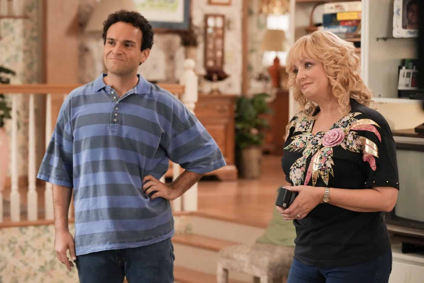 """THE GOLDBERGS Season 9 Episode 2 - """"Horse Play"""" – Adam is ready to leave the struggles of his high school years behind him but is distraught to discover he's been waitlisted at NYU while his girlfriend Brea has been accepted, along with his mom Beverly – who surprises everyone by admitting she applied to the same school. Adam courts the NYU dean of admissions, hoping she will change her mind on his deferral. Meanwhile, Erica, Geoff, Barry and Joanne create their own plan to convince Geoff's dad, Lou, that Erica had nothing to do with a past incident involving his prized porcelain horses on a new episode of """"The Goldbergs,"""" airing WEDNESDAY, SEPT. 29 (8:00-8:30 p.m. EDT), on ABC. (ABC/Scott Everett White) WENDI MCLENDON-COVEY"""