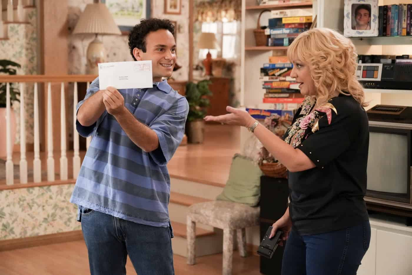 """THE GOLDBERGS Season 9 Episode 2 - """"Horse Play"""" – Adam is ready to leave the struggles of his high school years behind him but is distraught to discover he's been waitlisted at NYU while his girlfriend Brea has been accepted, along with his mom Beverly – who surprises everyone by admitting she applied to the same school. Adam courts the NYU dean of admissions, hoping she will change her mind on his deferral. Meanwhile, Erica, Geoff, Barry and Joanne create their own plan to convince Geoff's dad, Lou, that Erica had nothing to do with a past incident involving his prized porcelain horses on a new episode of """"The Goldbergs,"""" airing WEDNESDAY, SEPT. 29 (8:00-8:30 p.m. EDT), on ABC. (ABC/Scott Everett White) TROY GENTILE, WENDI MCLENDON-COVEY"""