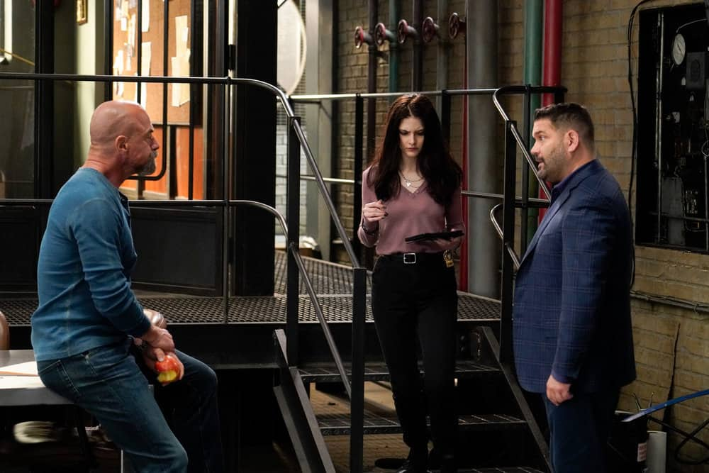 """LAW AND ORDER ORGANIZED CRIME Season 2 Episode 2 -- """"New World Order"""" Episode 202 -- Pictured: (l-r) Christopher Meloni as Det. Elliot Stabler, Ainsley Seiger as Jet Slootmaeker, Guillermo Diaz as Sgt. Bill Brewster -- (Photo by: Bennett Raglin/NBC)"""