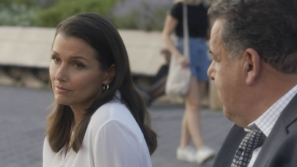 """BLUE BLOODS Season 12 Episode 1 """"Hate is Hate"""" -- As Danny consults a psychic to solve the murder of a young boy, Frank is at odds with the mayor over how best to protect the city from an uptick in crime following a high-profile shooting. Also, Erin investigates a decades-old case in which the primary eyewitness to the killing is her boss, D.A. Kimberly Crawford (Roslyn Ruff), who was 13 years old at the time, on the 12th season premiere of BLUE BLOODS, Friday, Oct. 1 (10:00-11:00 PM, ET/PT) on the CBS Television Network, and available to stream live and on demand on Paramount+. Callie Thorne returns as psychic medium Maggie Gibson and Dylan Walsh guest stars as Mayor Peter Chase. Pictured: Bridget Moynahan as Erin Reagan, Steven Schirripa as Anthony Abetamarco Photo: Best Possible Screengrab ©2021 CBS Broadcasting Inc. All Rights Reserved."""