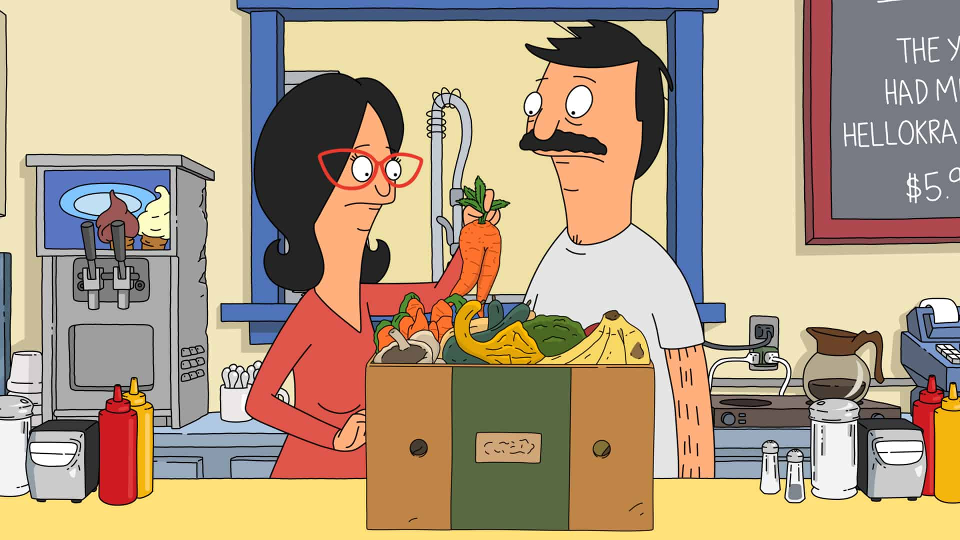 """BOB'S BURGERS Season 12 Episode 2: In order to help with anxiety about an upcoming oral report, Mr. Frond lends Tina a crystal that his new girlfriend alleges has special powers. Meanwhile, Bob and Linda buy a box of imperfect produce and try to use it all before it rots in the """"Crystal Mess"""" episode of BOB'S BURGERS airing Sunday, Oct. 3 (9:00-9:30 PM ET/PT) on FOX. BOB'S BURGERS © 2021 by 20th Television."""