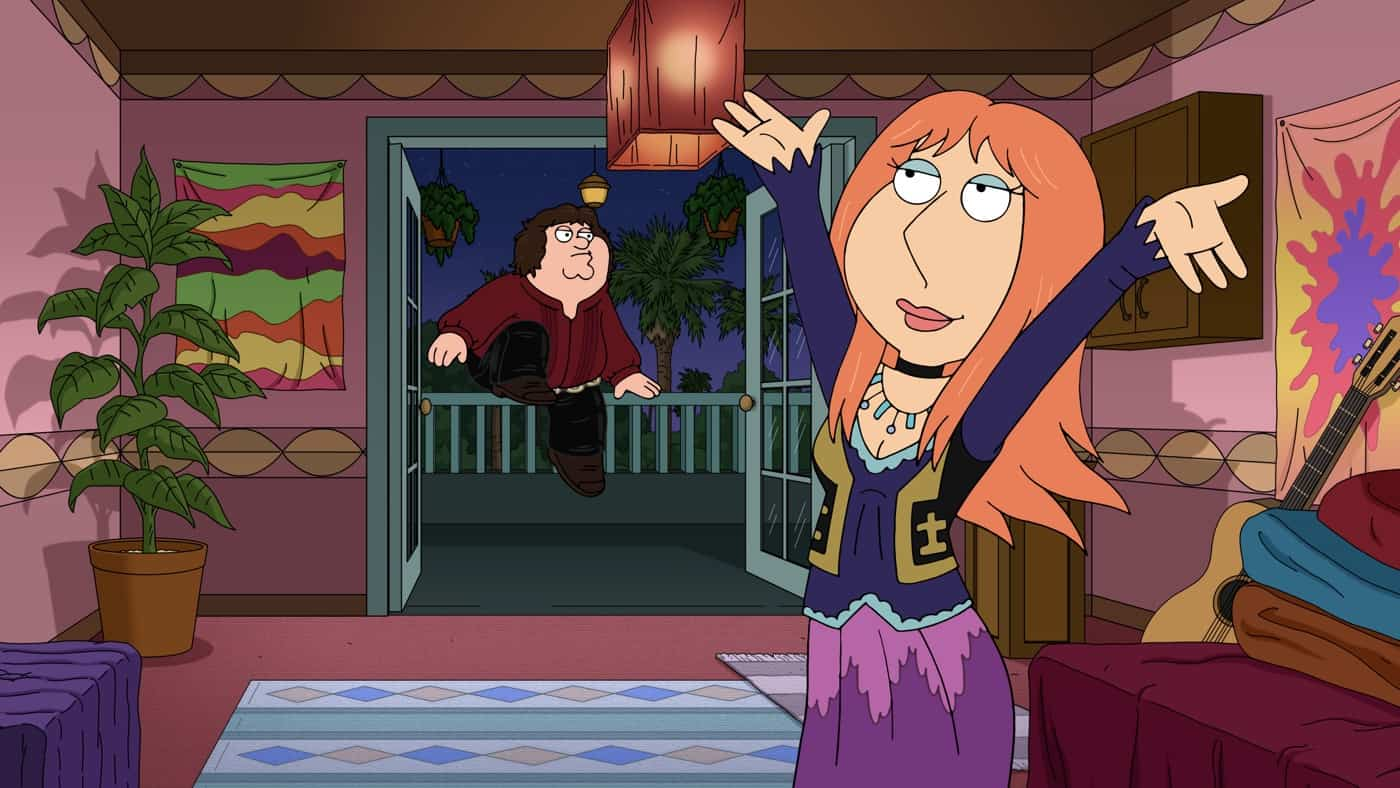 """FAMILY GUY Season 20 Episode 2: While at an old record store, Peter and the guys recount tales of three rock legends: Jim Morrison, Muddy Waters and Elton John in the all-new """"Rock Hard"""" episode of FAMILY GUY airing Sunday, Oct. 3 (9:30-10:00 PM ET/PT) on FOX. FAMILY GUY © 2021 by 20th Television."""