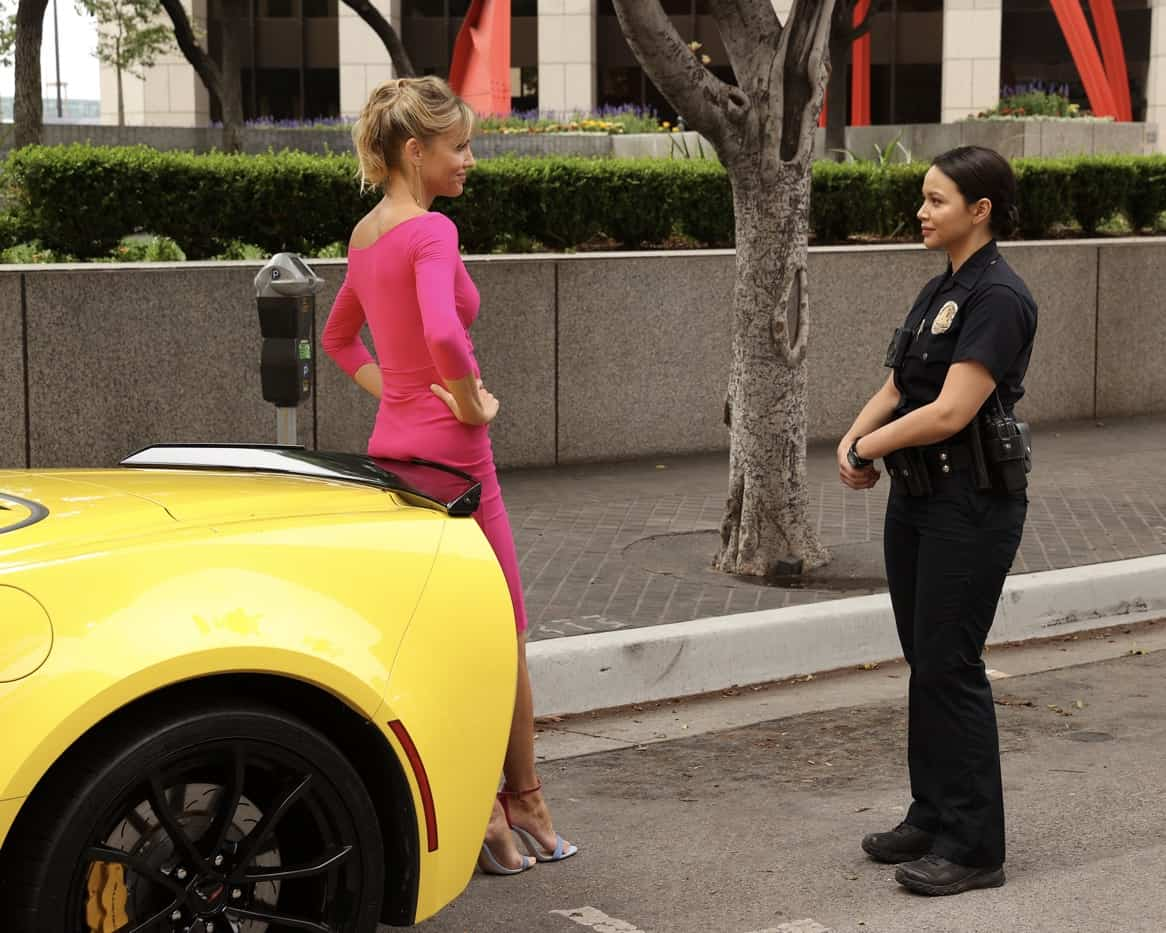 """THE ROOKIE Season 4 Episode 2 - """"Five Minutes"""" – Officer Nolan and Officer Chen's run-in with an infamous thief tips them off to a potentially big heist surrounding the Getty's big gala event. Meanwhile, Nolan works up the courage to ask Bailey out on date on an all-new episode of """"The Rookie,"""" SUNDAY, OCT. 3 (10:00-11:00 p.m. EDT), on ABC. (ABC/Raymond Liu) TRICIA HELFER, MELISSA O'NEIL"""
