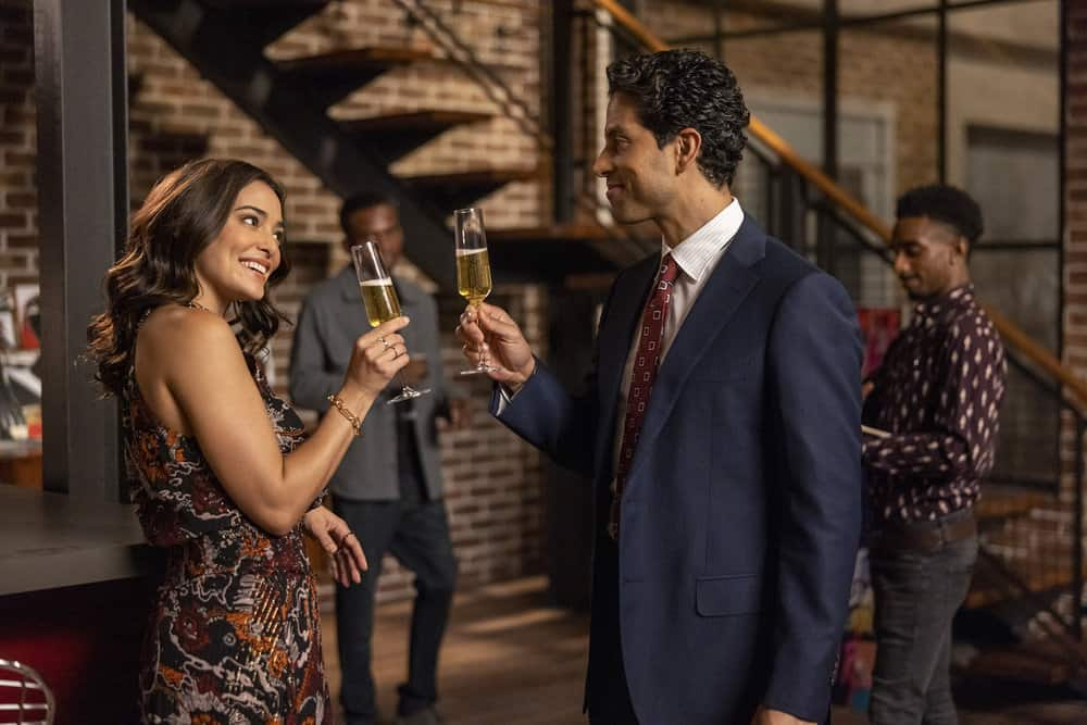 "ORDINARY JOE Season 1 Episode 3 -- ""Happy Birthday Jenny"" Episode 103 -- Pictured: (l-r) Natalie Martinez as Amy Kindelán, Adam Rodriguez as Bobby Diaz -- (Photo by: Fernando Decillis/NBC)"