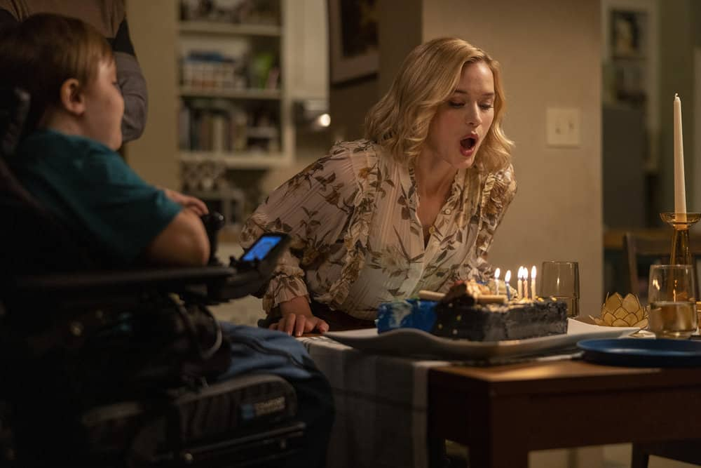 "ORDINARY JOE Season 1 Episode 3 -- ""Happy Birthday Jenny"" Episode 103 -- Pictured: (l-r) John Gluck as Christopher, Elizabeth Lail as Jenny Banks -- (Photo by: Fernando Decillis/NBC)"