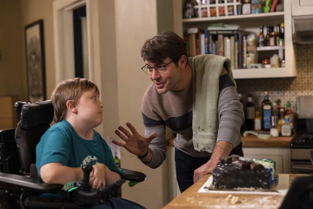 "ORDINARY JOE Season 1 Episode 3 -- ""Happy Birthday Jenny"" Episode 103 -- Pictured: (l-r) John Gluck as Christopher, James Wolk as Joe Kimbreau -- (Photo by: Fernando Decillis/NBC)"