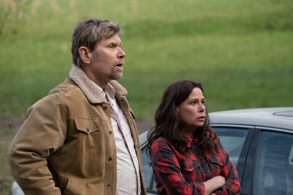 """AMERICAN RUST Season 1 Episode 4 (L-R): Mark Pellegrino as Virgil Poe and Maura Tierney as Grace Poe in AMERICAN RUST, """"My Name is Billy"""". Photo credit: Dennis Mong/SHOWTIME."""