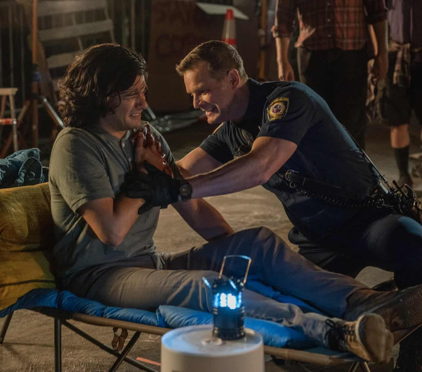 "911 Season 5 Episode 3 : Peter Krause (R) in the ""Desperate Measures"" episode of 9-1-1 airing Monday, Oct. 4 (8:00-9:00 PM ET/PT) on FOX. © 2021 FOX MEDIA LLC. CR: Jack Zeman /FOX."