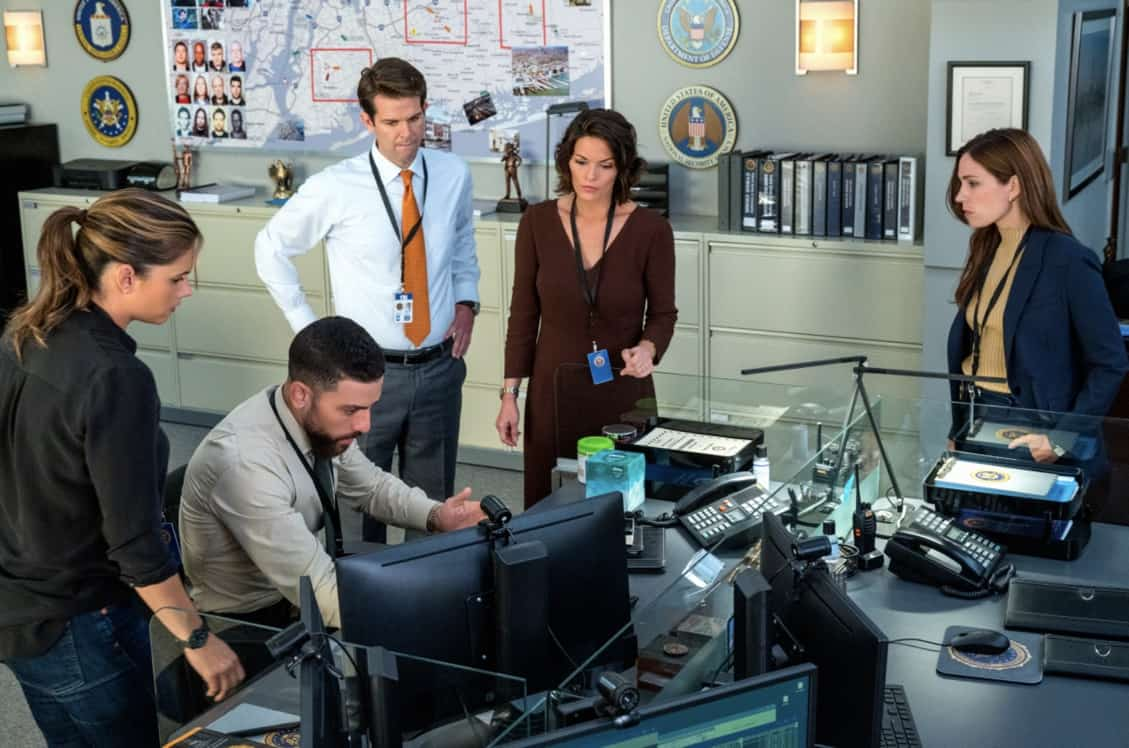 """FBI Season 4 Episode 3 """"Trauma"""" – After the team finds a connection between bombings at government agencies and a private veterans' club in New York City, Isobel tells OA to recruit his former Army buddy, Chris (Cleveland Berto), for intel since he spends time at the club. However, knowing the difficulty soldiers like Chris often face returning to civilian life, OA is reluctant to follow orders, on the CBS Original series FBI, Tuesday, Oct. 5 (8:00-9:00 PM, ET/PT) on the CBS Television Network, and available to stream live and on demand on Paramount+. Pictured (L-R) Missy Peregrym as Special Agent Maggie Bell, Zeeko Zaki as Special Agent Omar Adom 'OA' Zidan, Taylor Anthony Miller as Kelly Moran, Alana De La Garza as Special Agent in Charge Isobel Castille and Kathleen Munroe as Rina Trenholm Photo: David M. Russell/CBS ©2021 CBS Broadcasting, Inc. All Rights Reserved"""