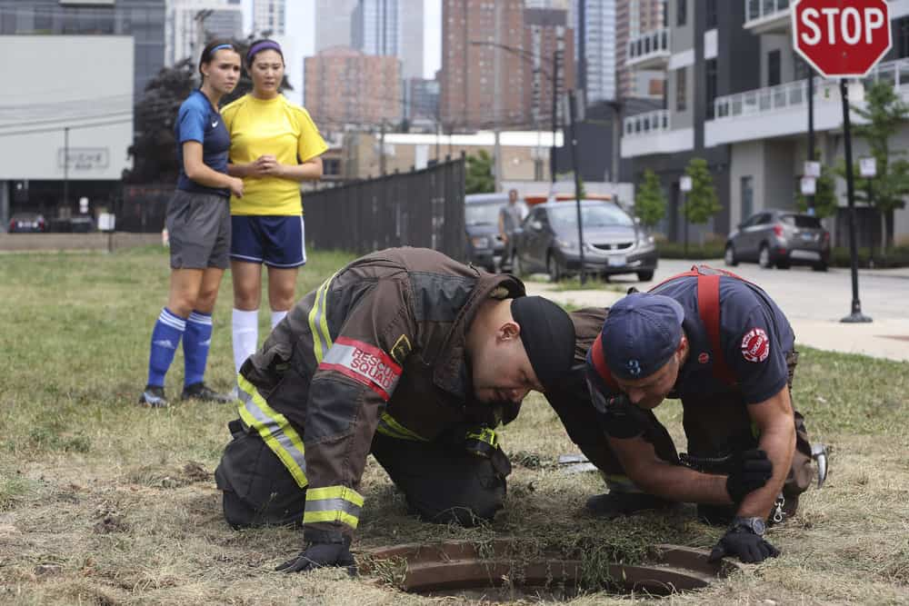 """CHICAGO FIRE Season 10 Episode 3 -- """"Counting Your Breaths"""" Episode 1003 -- Pictured: (l-r) Joe Minoso as Joe Cruz, Taylor Kinney as Kelly Severide -- (Photo by: Adrian S. Burrows Sr./NBC)"""
