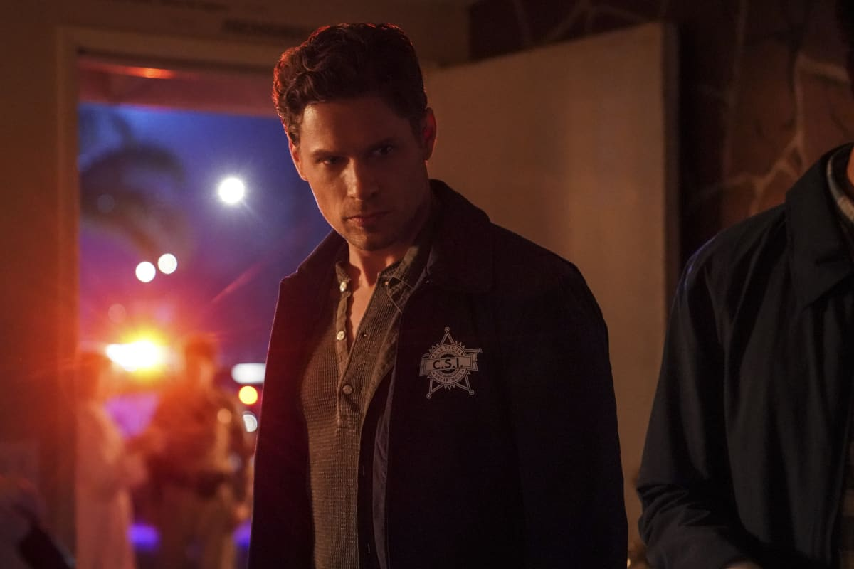 """CSI VEGAS Season 1 Episode 1 """"Legacy"""" -- An attack on Jim Brass kicks off a twisted conspiracy targeting the Las Vegas crime lab. Sara Sidle returns to investigate with a new team of CSIs on the series premiere of CSI: VEGAS, Wednesday, Oct. 6 (10:00-11:00 PM, ET/PT) on the CBS Television Network and available streaming on Paramount+. Pictured: Matt Lauria as Josh Folsom. Photo: Sonja Flemming/CBS ©2021 CBS Broadcasting, Inc. All Rights Reserved."""