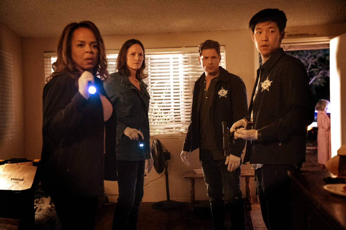 """CSI VEGAS Season 1 Episode 1 """"Legacy"""" -- An attack on Jim Brass kicks off a twisted conspiracy targeting the Las Vegas crime lab. Sara Sidle returns to investigate with a new team of CSIs on the series premiere of CSI: VEGAS, Wednesday, Oct. 6 (10:00-11:00 PM, ET/PT) on the CBS Television Network and available streaming on Paramount+. Pictured L-R: Paula Newsome as Maxine Roby, Jorja Fox as Sara Sidle, Matt Lauria as Josh Folsom, and Jay Lee as Chris Park. Photo: Sonja Flemming/CBS ©2021 CBS Broadcasting, Inc. All Rights Reserved."""