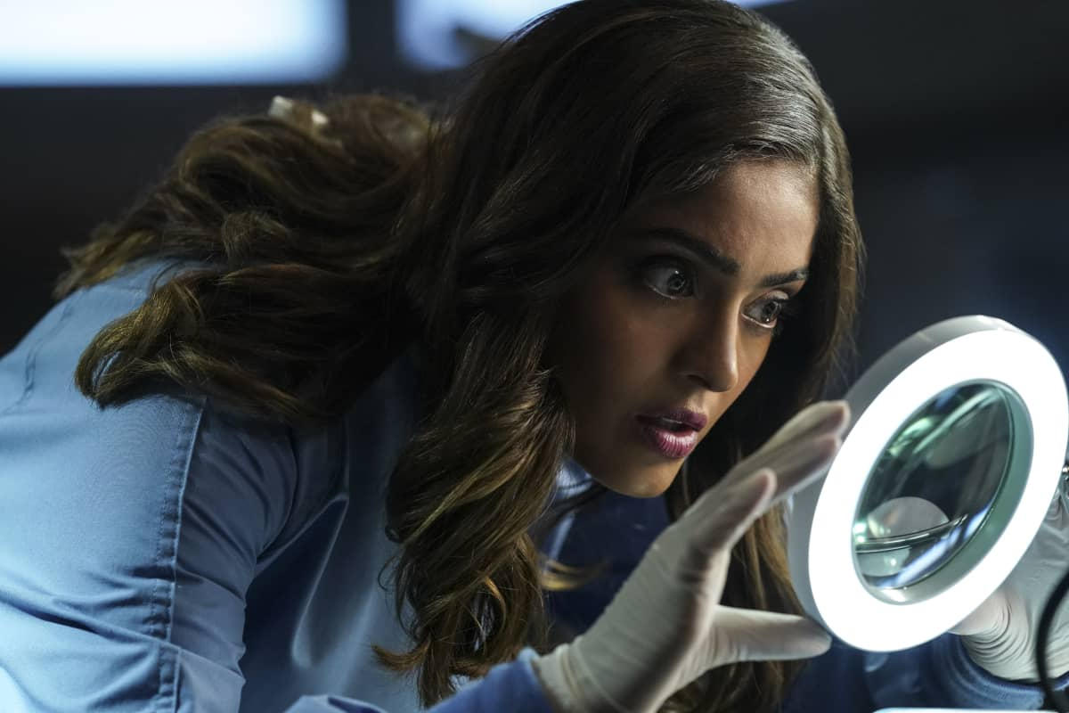"""CSI VEGAS Season 1 Episode 1 """"Legacy"""" -- An attack on Jim Brass kicks off a twisted conspiracy targeting the Las Vegas crime lab. Sara Sidle returns to investigate with a new team of CSIs on the series premiere of CSI: VEGAS, Wednesday, Oct. 6 (10:00-11:00 PM, ET/PT) on the CBS Television Network and available streaming on Paramount+. Pictured: Mandeep Dhillon as Allie Rajan. Photo: Sonja Flemming/CBS ©2021 CBS Broadcasting, Inc. All Rights Reserved."""