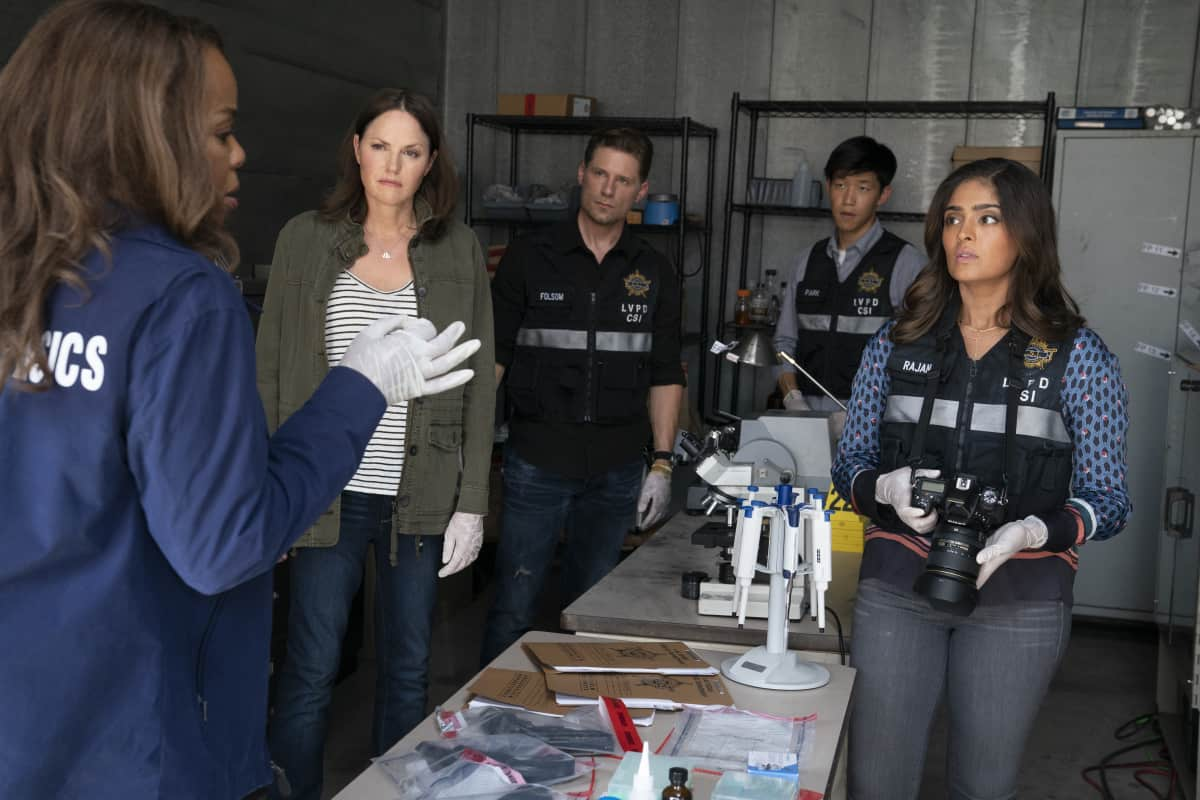 """CSI VEGAS Season 1 Episode 1 """"Legacy"""" -- An attack on Jim Brass kicks off a twisted conspiracy targeting the Las Vegas crime lab. Sara Sidle returns to investigate with a new team of CSIs on the series premiere of CSI: VEGAS, Wednesday, Oct. 6 (10:00-11:00 PM, ET/PT) on the CBS Television Network and available streaming on Paramount+. Pictured L-R: Paula Newsome as Maxine Roby, Jorja Fox as Sara Sidle, Matt Lauria as Josh Folsom, Jay Lee as Chris Park and Mandeep Dhillon as Allie Rajan. Photo: Sonja Flemming/CBS ©2021 CBS Broadcasting, Inc. All Rights Reserved."""