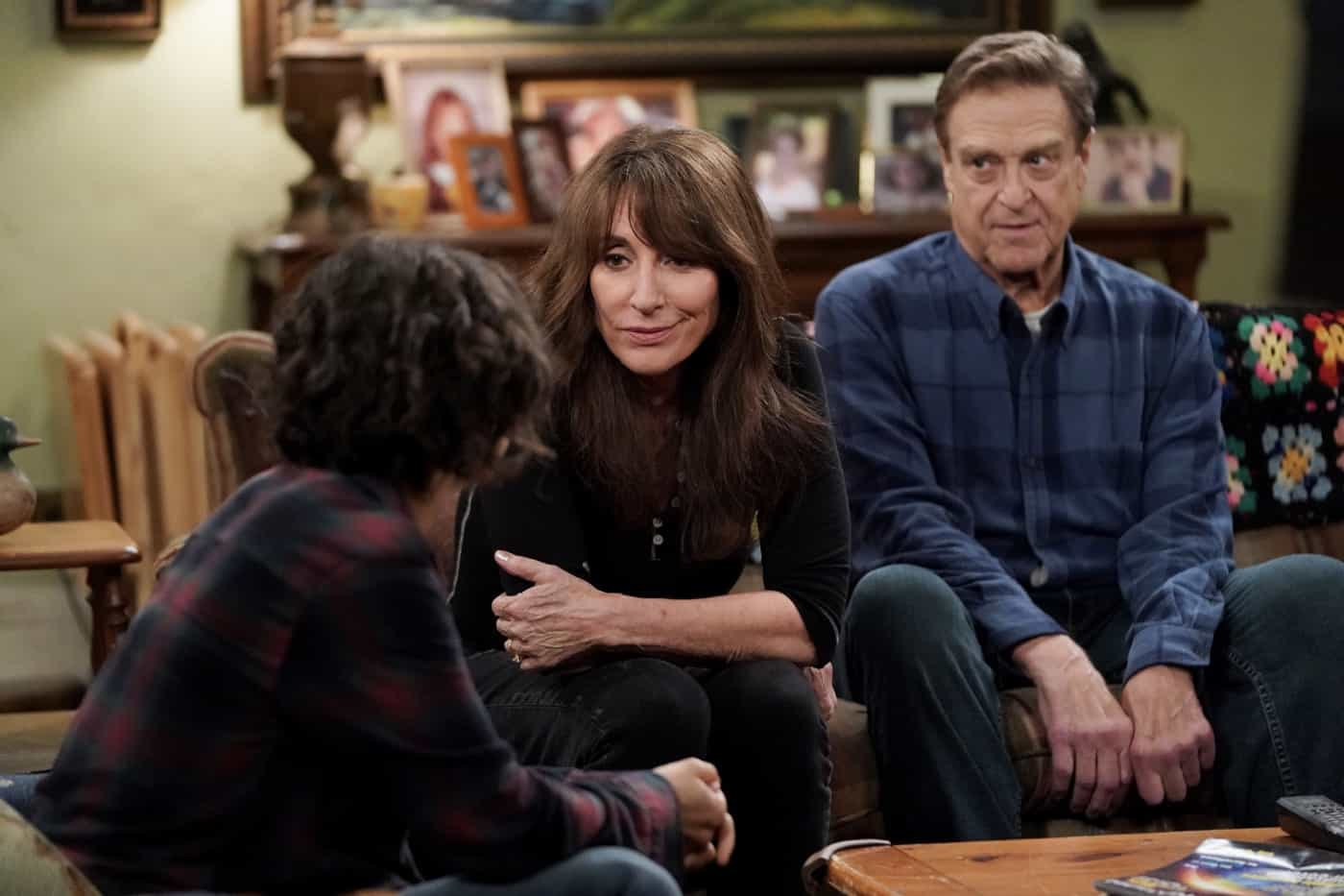 """THE CONNERS Season 4 Episode 3 -""""Sober Sex, Plastic Silverware, and Losing My Religion"""" – Part of Becky's recovery program mandates she make amends with people she has lied to over the years, leading her to meet up again with former high school friend Mikey to apologize for lying to him about her living a successful life. Meanwhile, Darlene visits with Pastor Phil (Jason Alexander), and Louise continues planning her wedding on """"The Conners,"""" WEDNESDAY, OCT. 6 (9:00-9:30 p.m. EDT), on ABC. (ABC/Eric McCandless) KATEY SAGAL"""