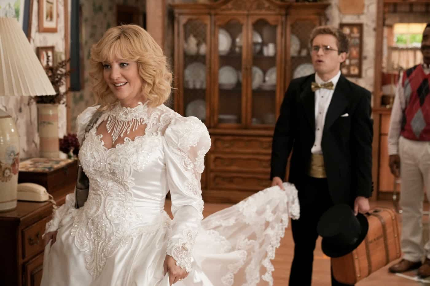"""THE GOLDBERGS Season 9 Episode 3 -""""Riptide Waters"""" – Recently injured at local waterpark Riptide Waters, Mr. Glascott embarks on a mission to petition the neighborhood to close it down. Determined to foil Mr. Glascott's plan, Barry starts his own petition to keep the beloved institution, filled with childhood memories, open. Meanwhile, Erica is faced with frustration as Beverly takes over her wedding planning. Geoff tries to intervene by incorporating advice from a """"professional"""" marriage counselor only to realize he should have listened to Murray and let the ladies sort it out themselves on new episode of """"The Goldbergs,"""" airing WEDNESDAY, OCT. 6 (8:00-8:30 p.m. EDT), on ABC. (ABC/Scott Everett White) WENDI MCLENDON-COVEY"""