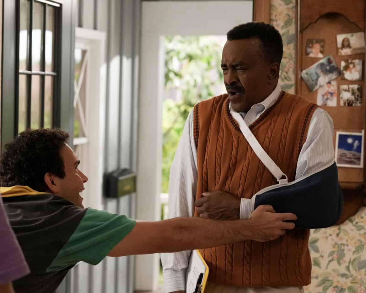 """THE GOLDBERGS Season 9 Episode 3 -""""Riptide Waters"""" – Recently injured at local waterpark Riptide Waters, Mr. Glascott embarks on a mission to petition the neighborhood to close it down. Determined to foil Mr. Glascott's plan, Barry starts his own petition to keep the beloved institution, filled with childhood memories, open. Meanwhile, Erica is faced with frustration as Beverly takes over her wedding planning. Geoff tries to intervene by incorporating advice from a """"professional"""" marriage counselor only to realize he should have listened to Murray and let the ladies sort it out themselves on new episode of """"The Goldbergs,"""" airing WEDNESDAY, OCT. 6 (8:00-8:30 p.m. EDT), on ABC. (ABC/Scott Everett White) TROY GENTILE, TIM MEADOWS"""