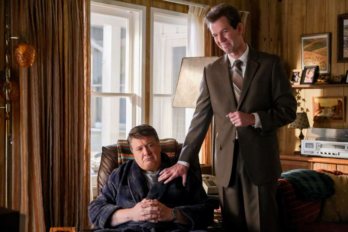 """YOUNG SHELDON Season 5 Episode 1 """"One Bad Night and Chaos of Selfish Desires"""" - Pictured: George Sr. (Lance Barber) and Pastor Jeff (Matt Hobby). Sheldon and Missy both run away from home, and Mary gets upsetting news about George, Sr., on the fifth season premiere of YOUNG SHELDON, Thursday, Oct. 7 (8:00-8:31 PM, ET/PT) on the CBS Television Network and available to stream live and on demand on Paramount+.   Photo Credit: Darren Michaels ©2021 Warner Bros. Entertainment Inc. All Rights Reserved."""