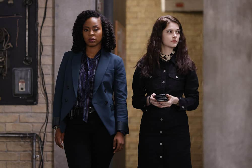"""LAW AND ORDER ORGANIZED CRIME Season 2 Episode 4 -- """"For A Few More Leke More"""" Episode 204 -- Pictured: (l-r) Danielle Moné Truitt as Sgt. Ayanna Bell, Ainsely Seiger as Det. Jet Slootmaekers -- (Photo by: Will Hart/NBC)"""