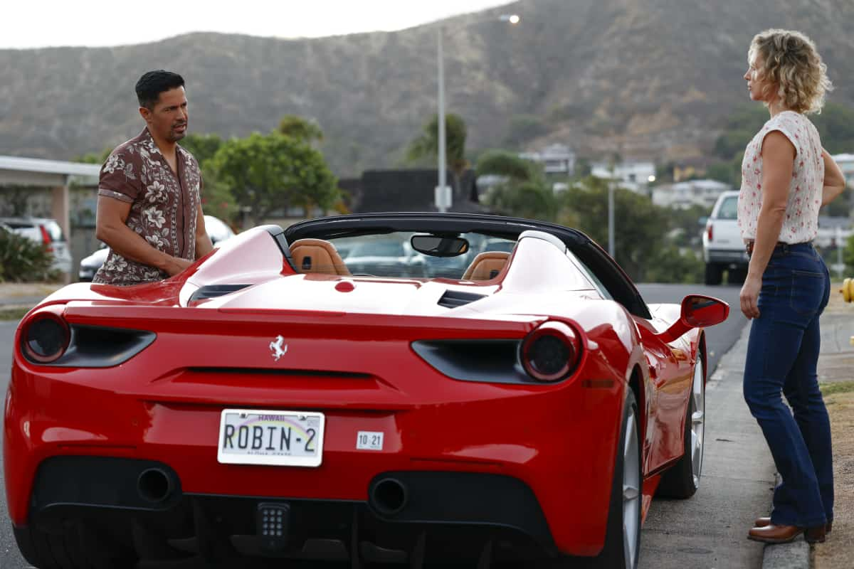 """MAGNUM P.I. Season 4 Episode 2 """"The Harder They Fall"""" While Magnum and Higgins reunite and work the case of a construction workerÕs tragic death, TC and Shammy get skyjacked by a pair of drug runners posing as tourists, on MAGNUM P.I., Friday, Oct. 8 (9:00-10:00 PM, ET/PT) on the CBS Television Network and available to stream live and on demand on Paramount+. Pictured L-R: Jay Hernandez as Thomas Magnum and Perdita Weeks as Juliet Higgins  Photo: Zack Dougan/CBS ©2021 CBS Broadcasting, Inc. All Rights Reserved."""