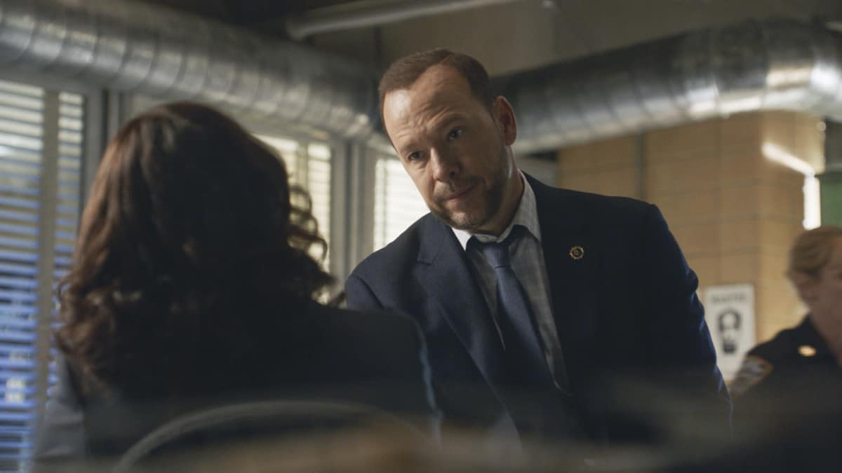 """BLUE BLOODS Season 12 Episode 2 """"Times Like These"""" -- Tension escalates between Frank and Mayor Chase (Dylan Walsh) after Frank makes a public arrest that goes viral. Also, Danny and Baez investigate a gang attack that takes an unexpected turn; Jamie worries when Eddie lies to him about where she's going in the evenings; and Anthony secretly recruits the Reagans for help with a surprise for Erin, on the CBS Original series BLUE BLOODS, Friday, Oct. 8 (10:00-11:00 PM, ET/PT) on the CBS Television Network, and available to stream live and on demand on Paramount+. Dylan Walsh guest stars as Mayor Peter Chase. Pictured: Donnie Wahlberg as Danny Reagan  Photo: Best Possible Screengrab ©2021 CBS Broadcasting Inc. All Rights Reserved."""