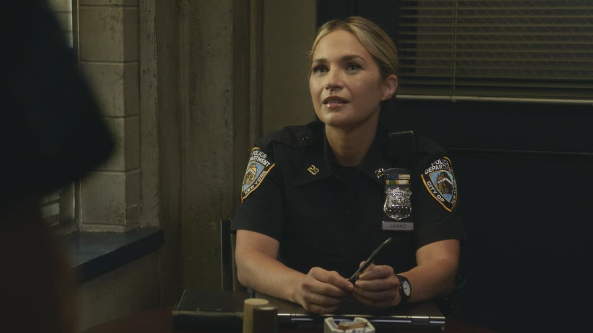 """BLUE BLOODS Season 12 Episode 2 """"Times Like These"""" -- Tension escalates between Frank and Mayor Chase (Dylan Walsh) after Frank makes a public arrest that goes viral. Also, Danny and Baez investigate a gang attack that takes an unexpected turn; Jamie worries when Eddie lies to him about where she's going in the evenings; and Anthony secretly recruits the Reagans for help with a surprise for Erin, on the CBS Original series BLUE BLOODS, Friday, Oct. 8 (10:00-11:00 PM, ET/PT) on the CBS Television Network, and available to stream live and on demand on Paramount+. Dylan Walsh guest stars as Mayor Peter Chase. Pictured:Vanessa Ray as Eddie Janko 0Photo: Best Possible Screengrab ©2021 CBS Broadcasting Inc. All Rights Reserved."""