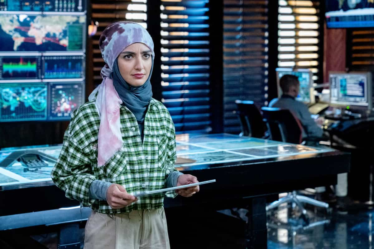 """NCIS LOS ANGELES Season 13 Episode 1 """"Subject 17"""" - Pictured: Medalion Rahimi (Special Agent Fatima Namazi). While Callen suspects Hetty of keeping secrets about his past and Joelle surfaces in her quest to capture Katya, NCIS must track down an informant whose life is in danger.  Also, Kensi and Deeks work to expand their family, on the 13th season premiere of NCIS: LOS ANGELES, Sunday, Oct. 10 (9:00-10:00 PM, ET/PT) on the CBS Television Network and available to stream live and on demand on the CBS app and Paramount+. Robert Voets/CBS ©2021 CBS Broadcasting, Inc. All Rights Reserved."""