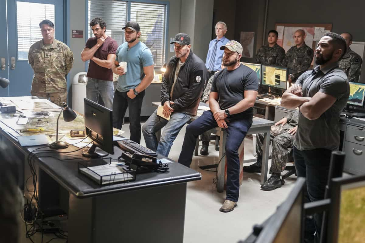 """SEAL TEAM Season 5 Episode 1 """"Trust, But Verify: Part 1"""" – Everyone on Bravo is shocked when they learn a training exercise is really cover for a covert mission to get a weapons expert out of one of the most dangerous countries in the world, on the fifth season premiere of SEAL TEAM, Sunday, Oct. 10 (10:00-11:00 PM, ET/PT) on the CBS Television Network, and available to stream live and on demand on Paramount+. Pictured L to R: Justin Melnick as Brock Reynolds, Max Thieriot as Clay Spenser, David Boreanaz as Jason Hayes, AJ Buckley as Sonny Quinn, Neil Brown Jr. as Ray Perry. Photo: Ron P. Jaffe/CBS ©2021 CBS Broadcasting, Inc. All Rights Reserved."""
